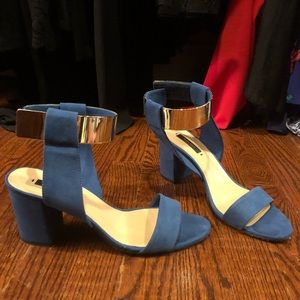 Zara Blue Suede Sandal with Mirror Detail Size 9